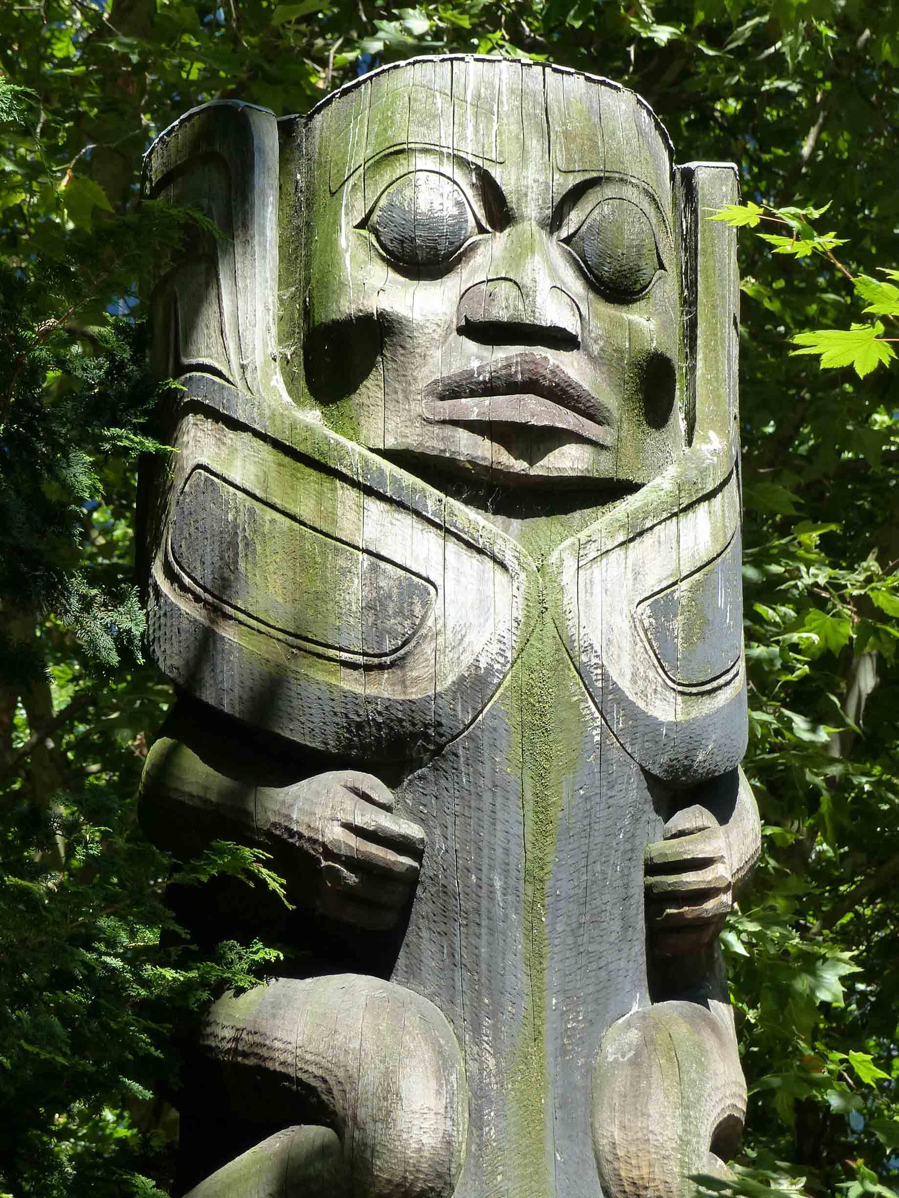 Wooden carved totem pole