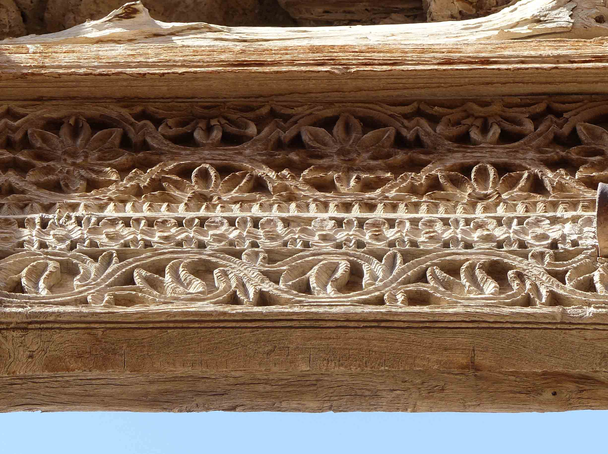 Horizontal carved wood beam