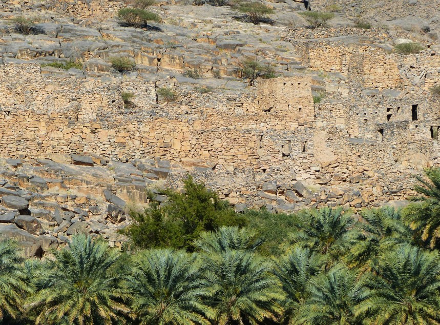 Ruined stone houses and palm trees