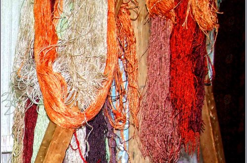 Skeins of silk in autumnal colours