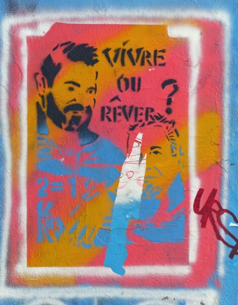 Colourful graffiti with two men's faces