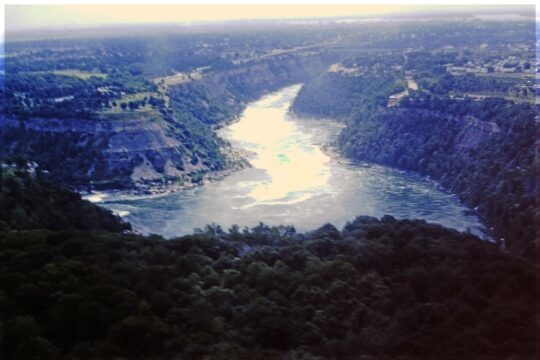 Looking down at a river in a gorge
