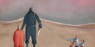Terrorist and Children Cartoon byMusa Gumus, Turkey