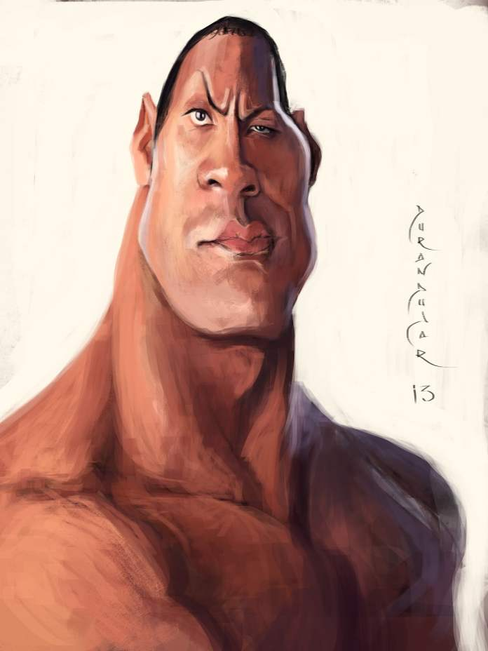 The Curious: The Rock, Caricature by Antonio Durán Andújar, from Spain