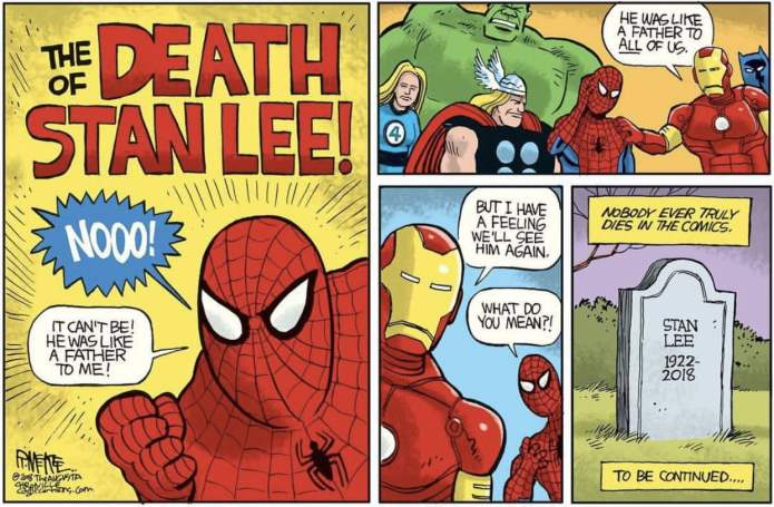 The death of Stan Lee, Comic by Rick McKee, from the United States of America