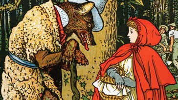 Iconic fairy tales which still used as metaphor of cartoon Little Red Riding Hood