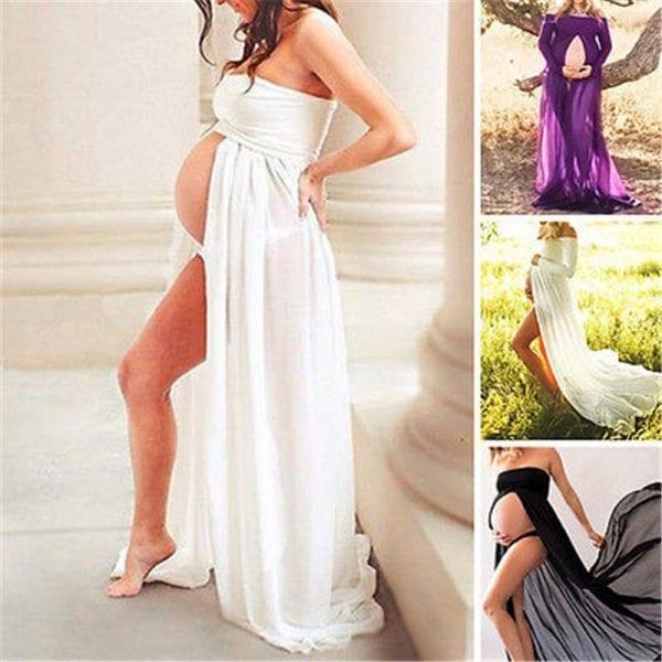 Pregnancy Clothing Maternity Stretchy Sexy lash Neck Maxi Dresses Women Photo Shoot Clothing 3