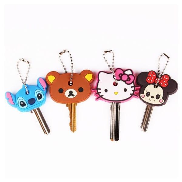 Cartoon Anime Cute Key Cover Cap Silicone Mickey Stitch Bear Keychain Women Gift Owl Porte Clef Hello Kitty Minne Key Chain 1