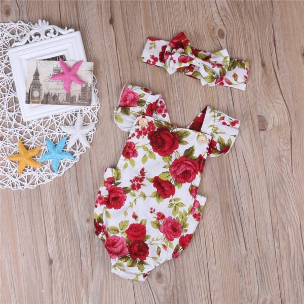 2017 Floral Newborn Baby Girl Clothes Ruffles Sleeve Bodysuit +Headband 2pcs Outfit Bebek Giyim Sunsuit 0-24M 4