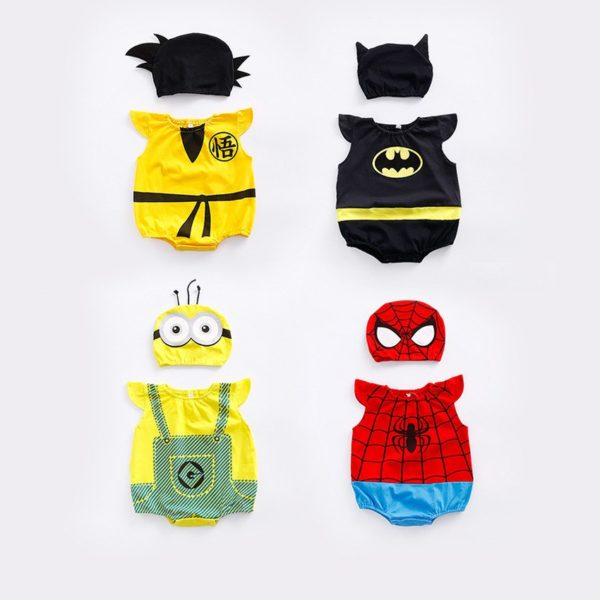 1pc romper 1pc Hat Newborn Baby Cotton rompers suits baby boys'  clothing Dragon Ball Spiderman Hero outifts Summer jumpsuits 3