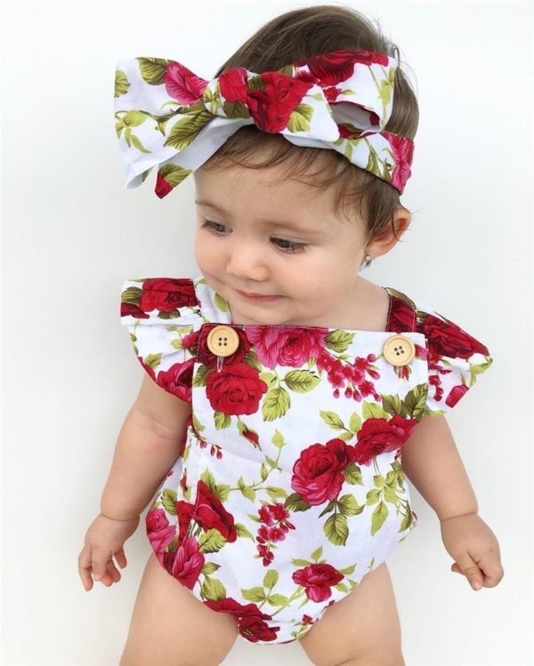 2017 Floral Newborn Baby Girl Clothes Ruffles Sleeve Bodysuit +Headband 2pcs Outfit Bebek Giyim Sunsuit 0-24M 1
