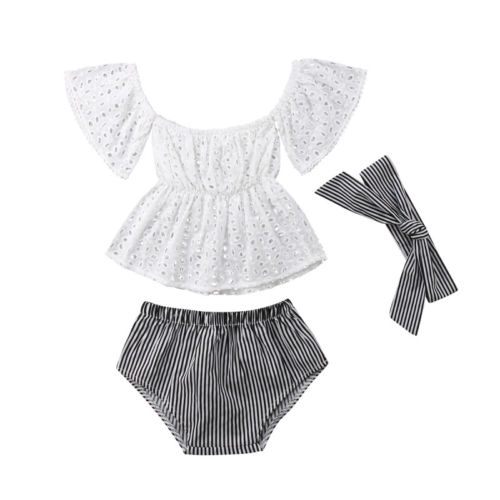 3pcs Toddler Baby Girl clothes set Lace  hollow out  short sleeve Top +Stripe Shorts +headband 3Pcs Outfits set clothes 4