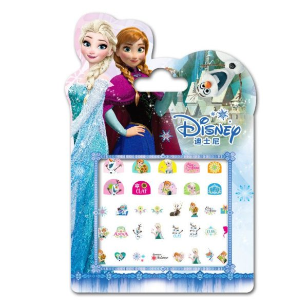 Frozen elsa and Anna  Makeup Toy Nail Stickers Toy Disney snow White Princess Sophia Mickey Minnie girls sticker for kids gift 4