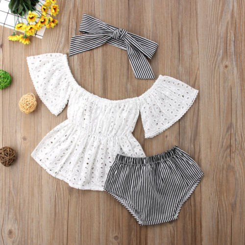 3pcs Toddler Baby Girl clothes set Lace  hollow out  short sleeve Top +Stripe Shorts +headband 3Pcs Outfits set clothes 1