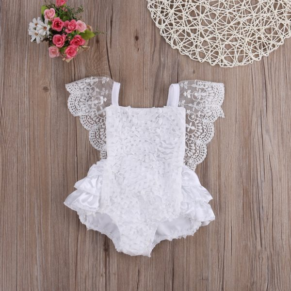 2018 Multitrust Brand Cute Newborn Infant Baby Girl Clothes Lace Tutu Romper Sleeveless Cake Sunsuit White Summer Outfits SS