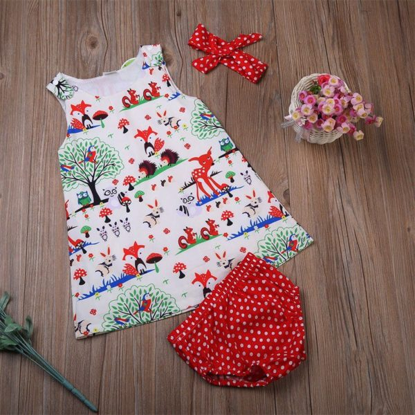 Newborn Baby Girl Clothes Toddler Floral Headband Cartoon Dress Dot Shorts Outfits Clothes 0-24M 3pcs sets 4