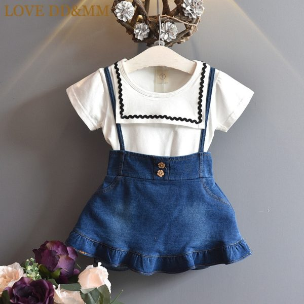 LOVE DD&MM Girls Sets 2019 Summer New Kid's Wear Girls Fashion Lapel Short-Sleeved T-Shirt + Sling Denim Dress Two-Piece Suit