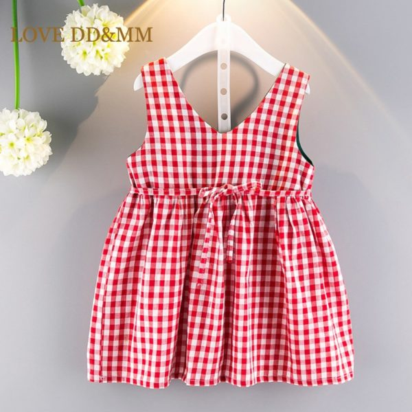LOVE DD&MM Girls Clothing Dresses 2019 New Girl Clothes Fashion Sweet Plaid Bow Vest Dress For Girl 1