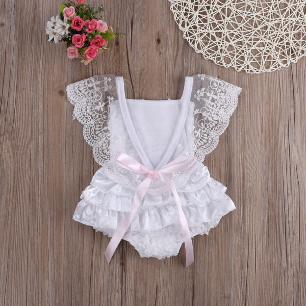 2018 Multitrust Brand Cute Newborn Infant Baby Girl Clothes Lace Tutu Romper Sleeveless Cake Sunsuit White Summer Outfits SS 1