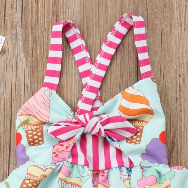 2018 Toddler Kids Baby Girls Strap Backless Dress Ice Cream Sundress Summer Cute Green Clothes 2