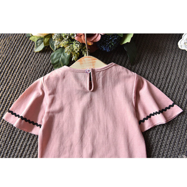 LOVE DD&MM Girls Sets 2019 Summer New Clothing Girls Fashion Hollow V-Neck Short-Sleeved T-Shirt + Denim Skirt Baby Suit