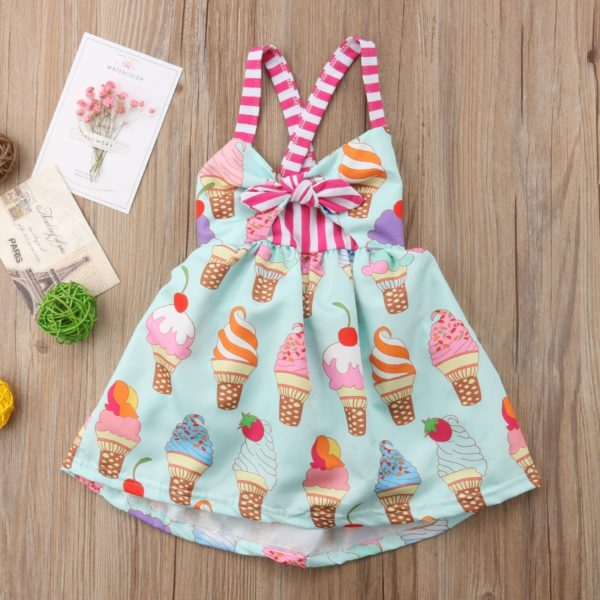 2018 Toddler Kids Baby Girls Strap Backless Dress Ice Cream Sundress Summer Cute Green Clothes 1