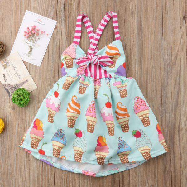 2018 Toddler Kids Baby Girls Strap Backless Dress Ice Cream Sundress Summer Cute Green Clothes 1