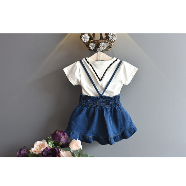 LOVE DD&MM Girls Sets 2019 Summer New Kid's Wear Girls Fashion Lapel Short-Sleeved T-Shirt + Sling Denim Dress Two-Piece Suit 1