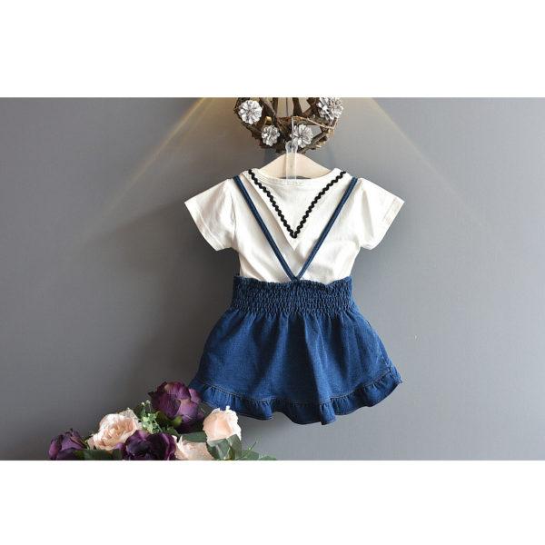 LOVE DD&MM Girls Sets 2019 Summer New Kid's Wear Girls Fashion Lapel Short-Sleeved T-Shirt + Sling Denim Dress Two-Piece Suit 1