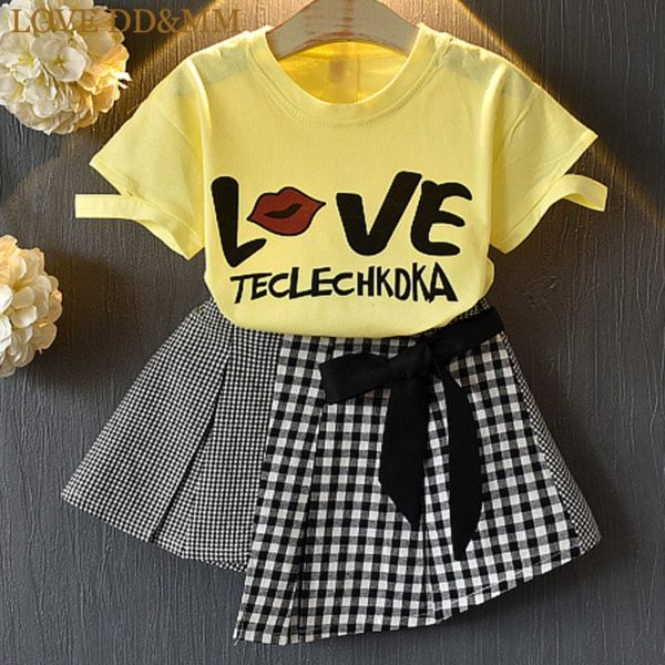 LOVE DD&MM Girls Sets 2019 New Children's Clothing Girls Letter Printed Short-Sleeved T-Shirt + Bow Lattice Skirt Two-Piece Suit 1