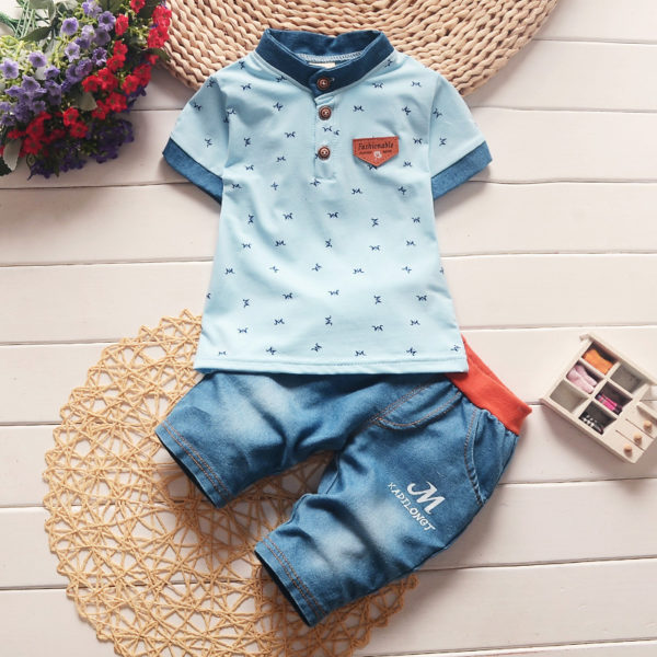 BibiCola baby boys summer clothes newborn children clothing sets for boy short sleeve shirts + jeans cool denim shorts suit 2