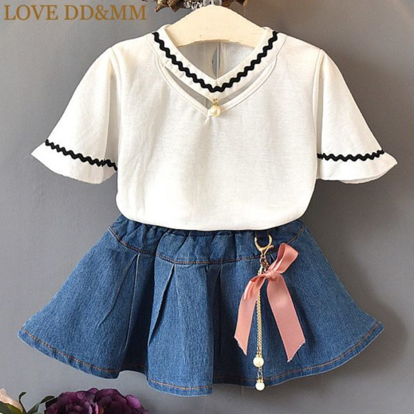 LOVE DD&MM Girls Sets 2019 Summer New Clothing Girls Fashion Hollow V-Neck Short-Sleeved T-Shirt + Denim Skirt Baby Suit 1