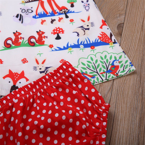 Newborn Baby Girl Clothes Toddler Floral Headband Cartoon Dress Dot Shorts Outfits Clothes 0-24M 3pcs sets 2
