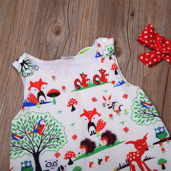 Newborn Baby Girl Clothes Toddler Floral Headband Cartoon Dress Dot Shorts Outfits Clothes 0-24M 3pcs sets 1