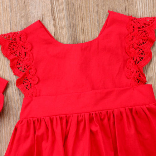 New Arriavl Christmas Ruffle Red Lace Romper Dress Baby Girls Sister Princess Kids Xmas Party Dresses Cotton Newborn Costume 3