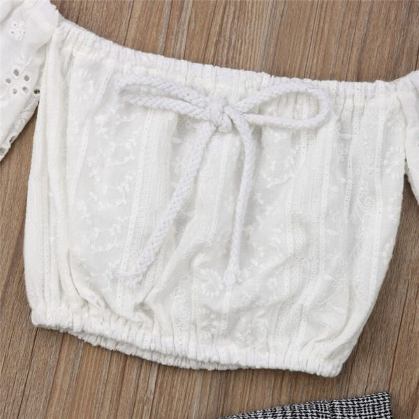 2-7T Toddler Kids Baby Girls Clothes set Summer Off Shoulder Lace Crop Top and long Pants Cute lovely Sweet Streetwear outfits 3