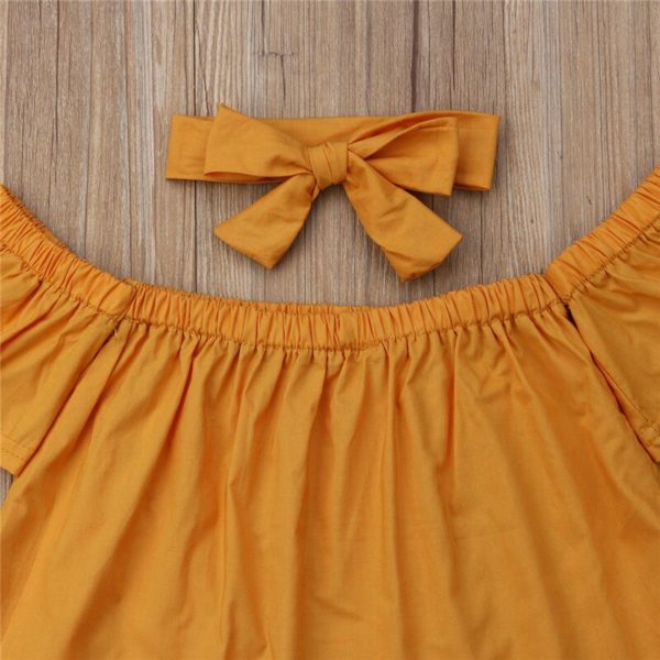 Toddler Baby Girls clothes Off Shoulder pullover short sleeve Tops solid Pants Bow Headband 3pc kids cotton lovely Outfits 2