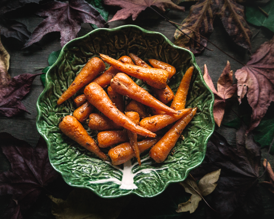Roasted whole carrots with coriander and cumin butter