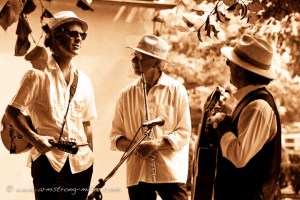 Brothers in Arms: Paul (left) with fellow musicians at the annual Rochefort festival.