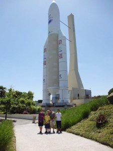 Stand by for blast-off: posing before the Ariane 5 mock-up