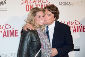 "Cheeky chappie: Bernard Tapie (r) at the premier of the film ""Salaud, on t'aime"" in March 2014"