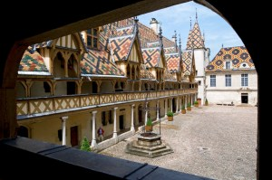 Beaune, the court of honor at the Hotel Dieu des Hospices, the roof tiles glazed multicolored
