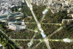 """Connected Forest: Viguier suggests planting hundreds of trees between the roundabout and Place de la Concorde to create """"a veritable forest, with full WiFi coverage, leaving glades"""", dotted with""""ephemeral pieces of micro-architecture"""""""