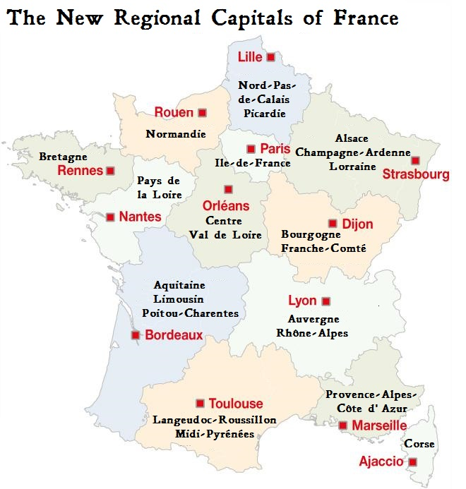 Map Of France New Regions.New Regional Capitals For France Tootlafrance