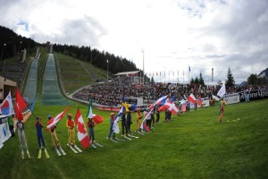 International Line-up in the Grass: the summer-time skiing event makes for a colourful spectacle