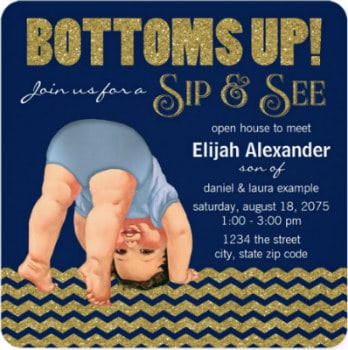 sip and see party invitation for a boy