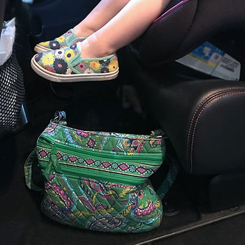 keep your purse in the backseat to prevent forgetting your baby