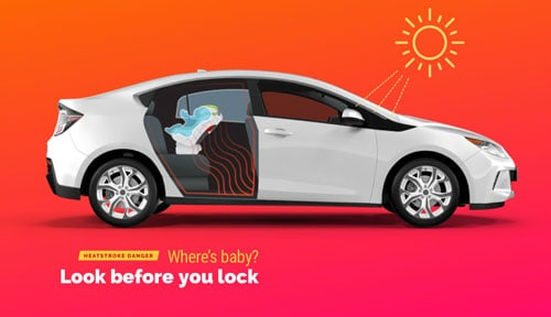prevent heatstroke by not leaving your baby in a car