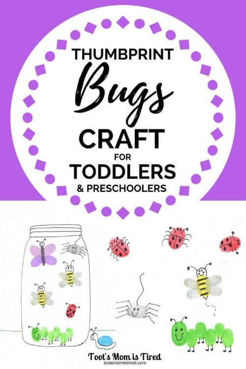 Thumbprint Bugs Craft for Toddlers and Preschoolers | toddler activity, preschool activity, art project, kids crafts about bugs, learn about insects, garden animals, craft for homeschooling preschool, stamps, free printable activities and crafts for toddlers, two year olds, three year olds, four year olds, #toddlercrafts #toddlers #preschool #preschoolcrafts #insects #bugs