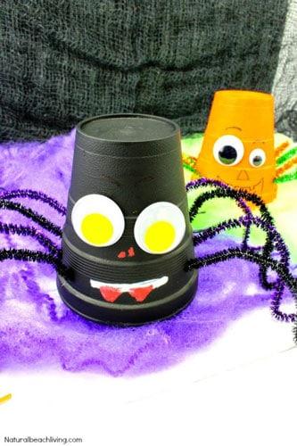 Halloween Styrofoam Cup Spider Craft by Natural Beach Living